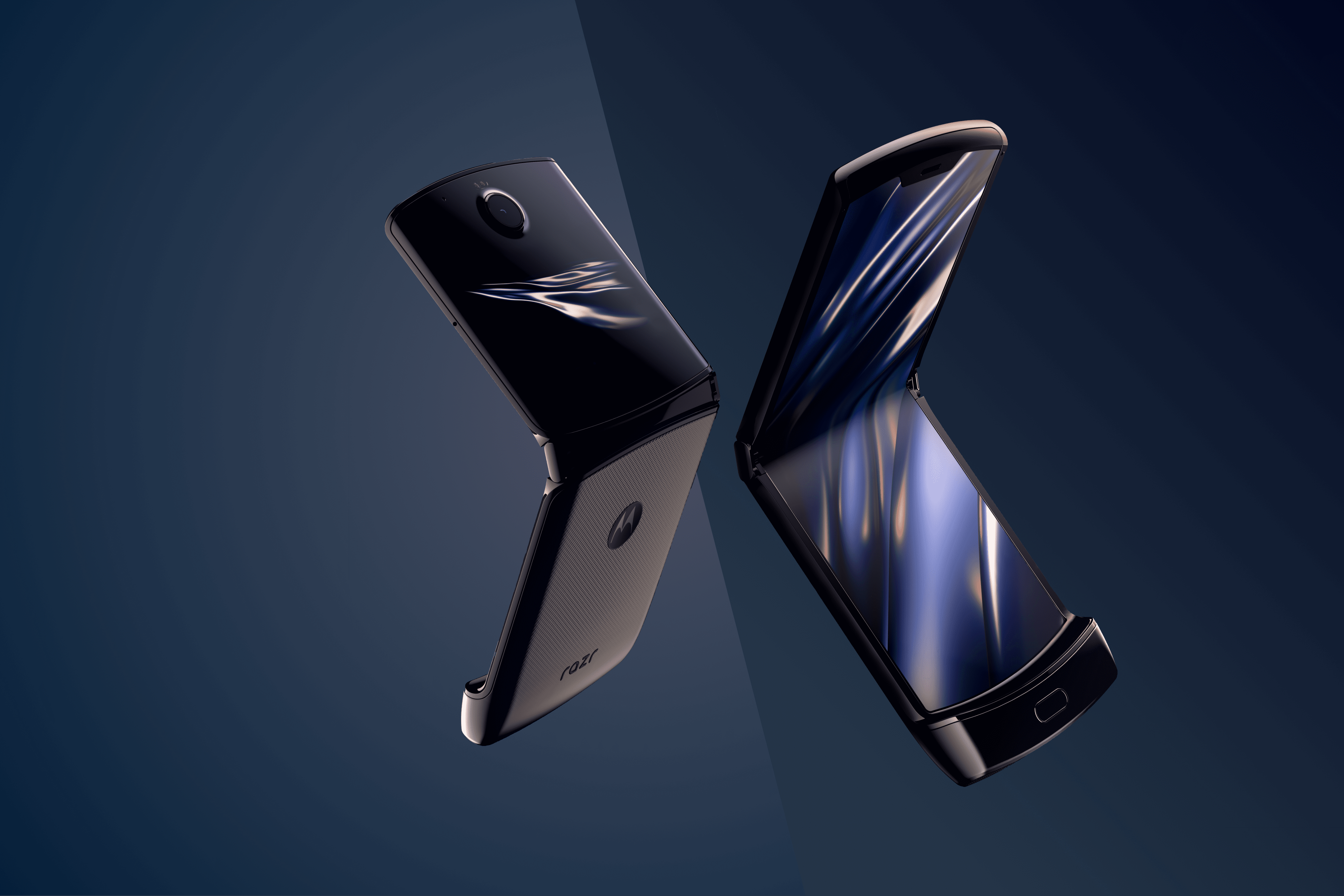2 open Motorola Razr Phones, back and front on a blue background